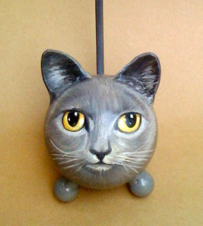 The Painted Kitty Urn-black