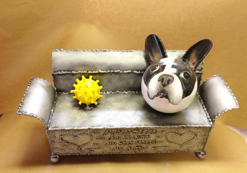couch/toy/portrait pet urn