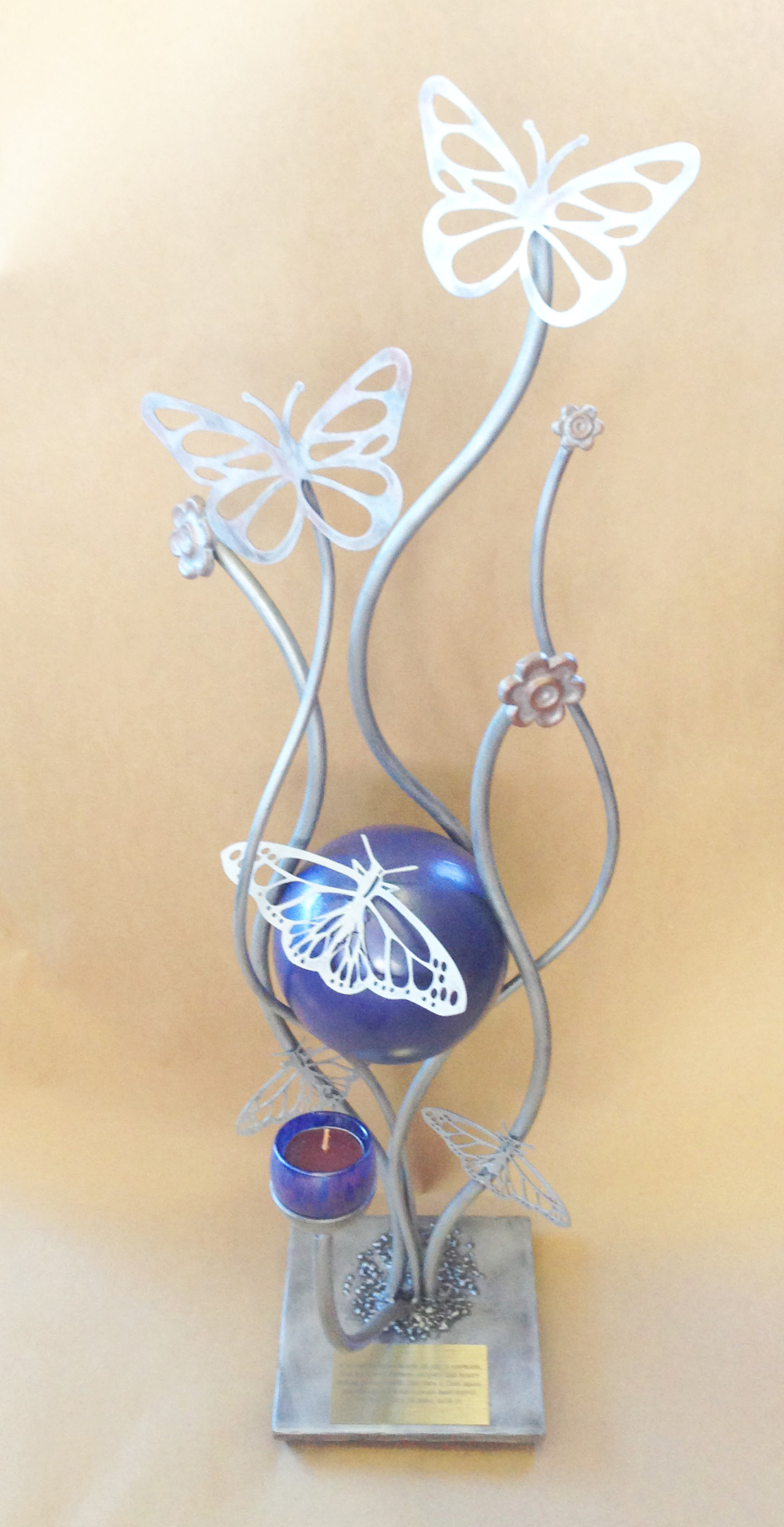 silver and purple pet urn