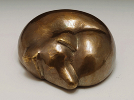 copper sleeping dog urn
