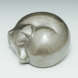 silver sleeping dog urn
