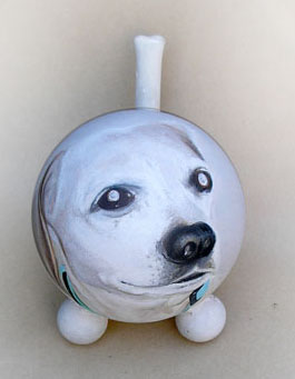 The Painted Puppy Urn White