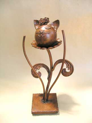 one of a kind flower kitty pet urn
