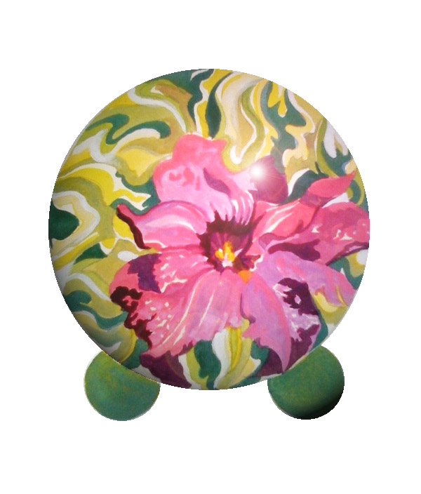 pet urns with painted hibiscus flower