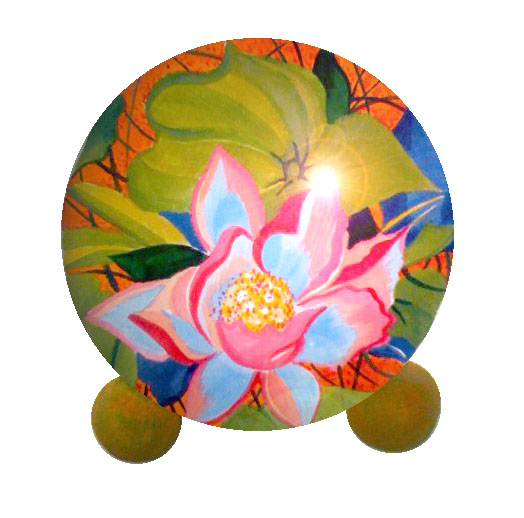 pet urns with painted lotus flower
