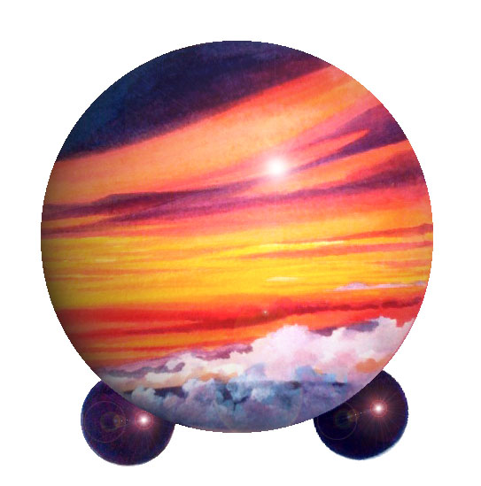 pet urns with an ocean sunset theme