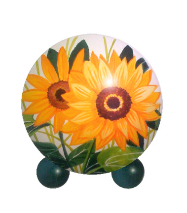 pet urns with painted sunflower