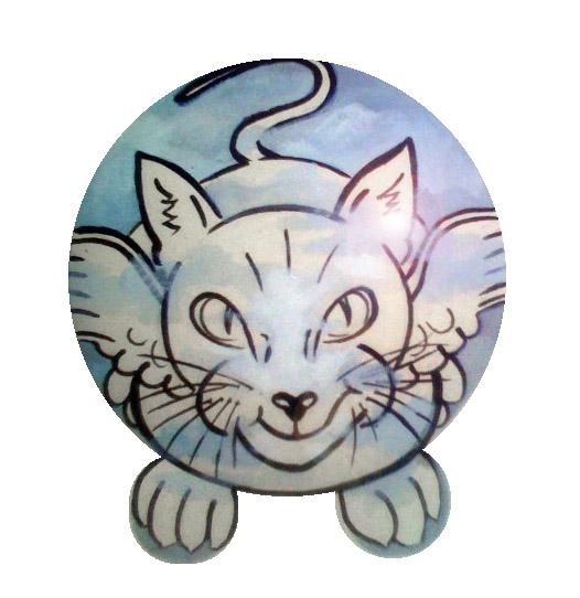 painted naughty kitty cat urn