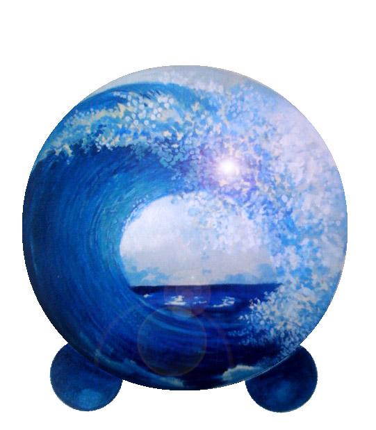 hand painted oceana wave pet urn
